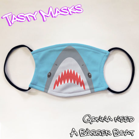 Facemask of illustrated shark mouth
