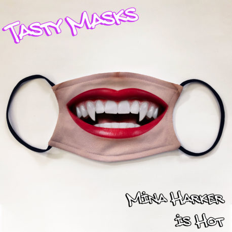 Facemask mouth female vampire lips and teeth fangs