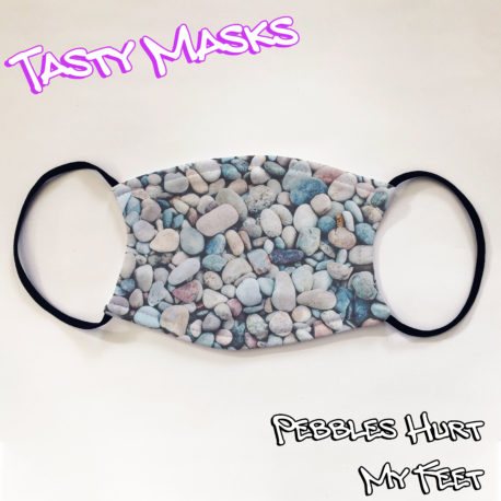 Facemask design, photograph of beach pebbles