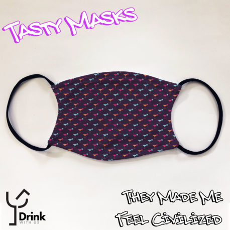 Facemask design, purple/navy background with repeating pattern of cocktail glasses in different colours