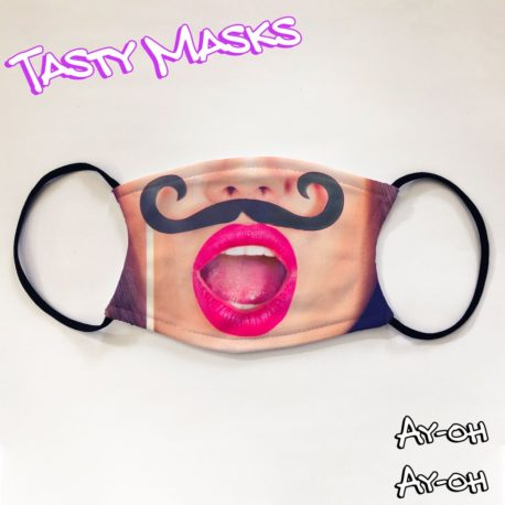 Attractive Lady with Fake Moustache Facemask