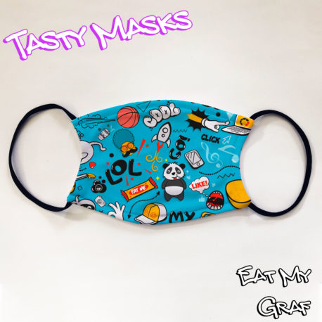 Facemask featuring illustration of doodles including panda, basketball, rockets and more, also words lol, cool, go!, click