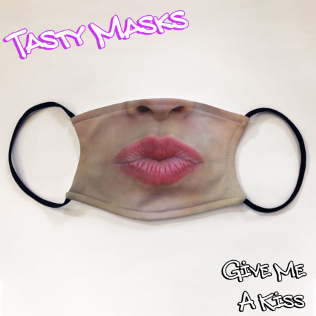 Facemask design of puckered up lips with red lipstick