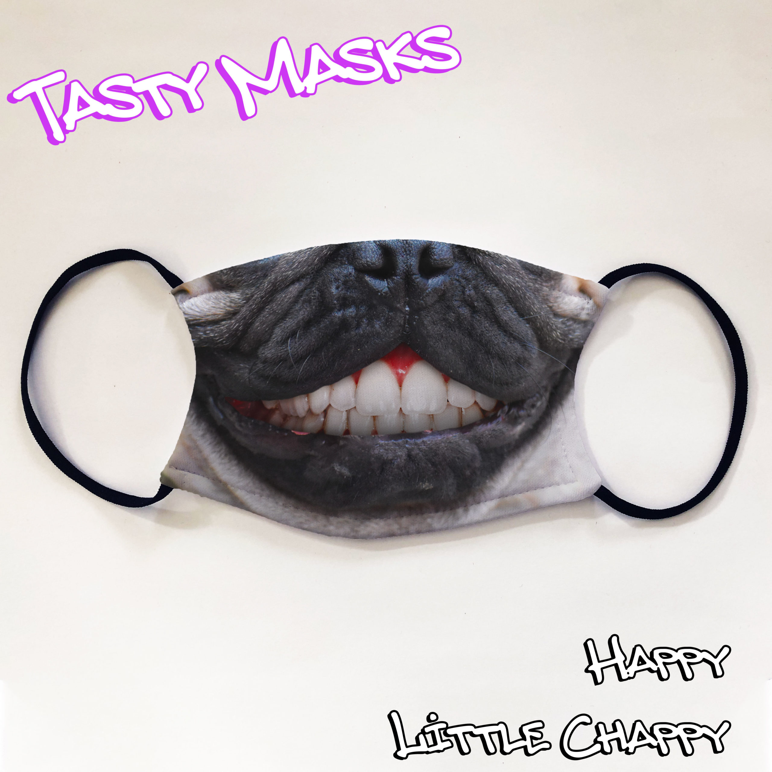 Facemask of pug dog nose and mouth face grinning