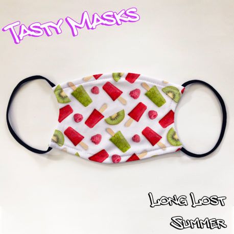 Facemask, repeating design of red & green raspberry & lime lollies & fruits