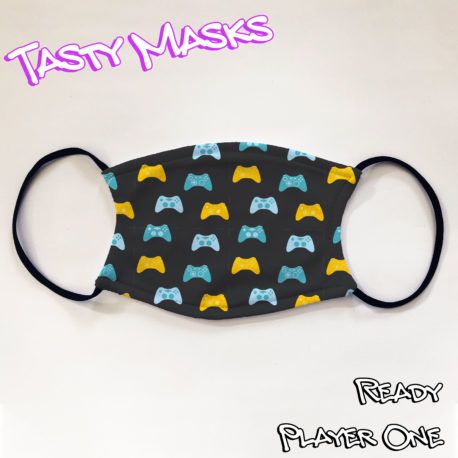 Facemask with black background and repeated pattern of video game controllers in shades of blue and yellow