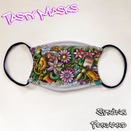 Facemask with design illustration of various flowers as well as a calendar with 'spring' written on front and umbrella