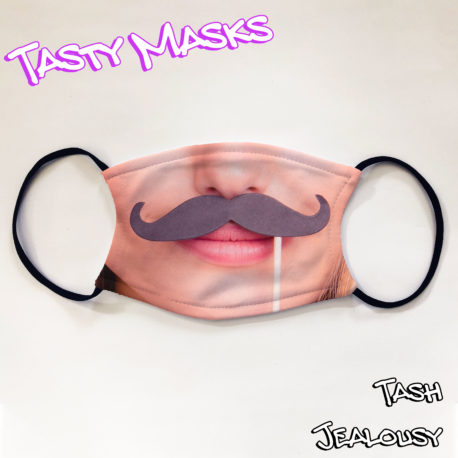 Facemask design of woman's face holding a fake moustache up