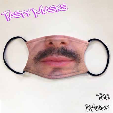 Facemask of man with short moustache