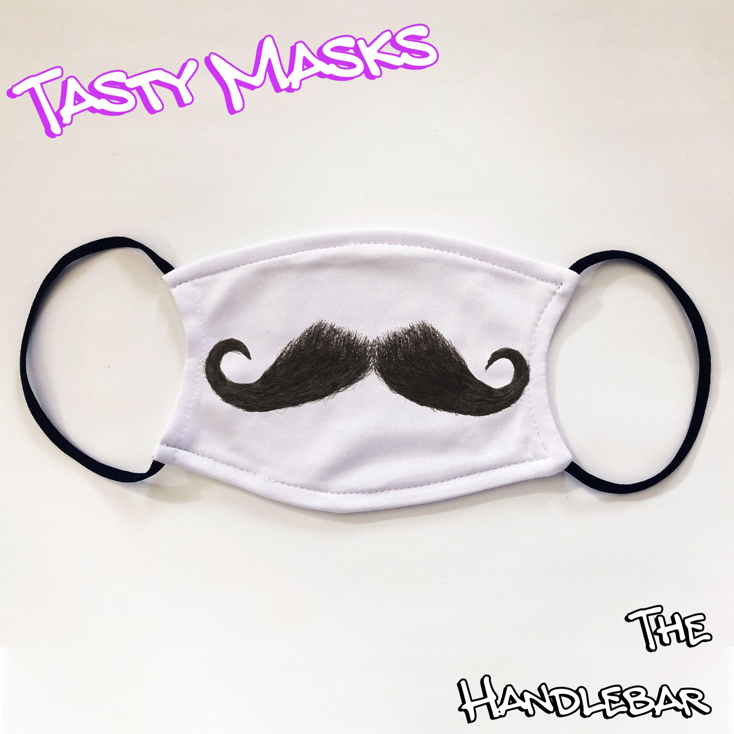 White facemask with black handlebar moustache design