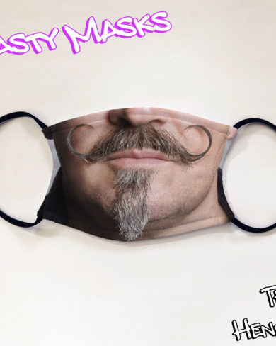Facemask photo of man with curled moustache and goatee