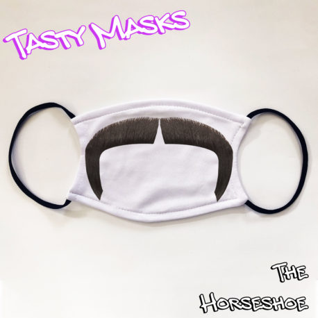 Facemask white background with black handlebar moustache design