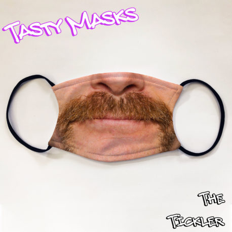 Facemask photo design man with ginger handlebar moustache