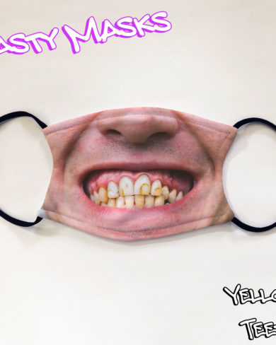 Facemask of nose and mouth with horrible yellow teeth