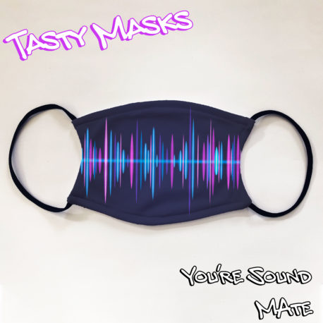 Navy facemask with sound wave across the centre in various shades of blue and purple